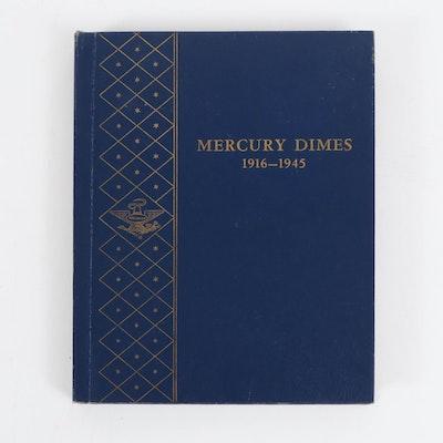 Mercury Silver Dimes Collection in Whitman Album, 1916–1945