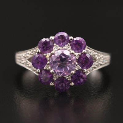 Sterling Silver Amethyst and Diamond Tier Ring