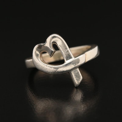 "Paloma Picasso for Tiffany & Co Sterling ""Loving Heart"" Ring with Pouch"