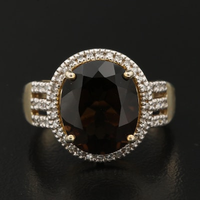 Sterling Smoky Quartz and Diamond Halo Ring
