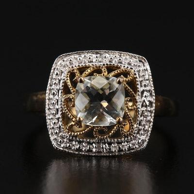 Sterling Aquamarine and Diamond Filigree Ring