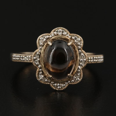Sterling Silver Smoky Quartz and Diamond Halo Ring