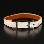"Hermès ""H"" Buckle Leather Bracelet with Box"