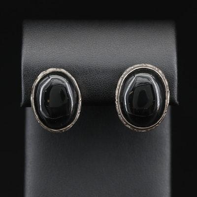 Sterling Silver Black Onyx Oval Earrings