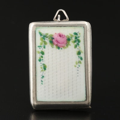Vintage Sterling Silver and Guilloche Enamel Locket
