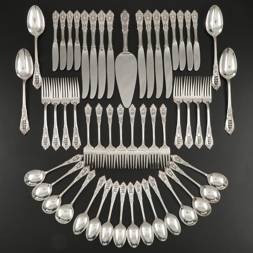 """Wallace """"Rose Point"""" Sterling Silver Flatware for Eight, Early to Mid 20th C."""