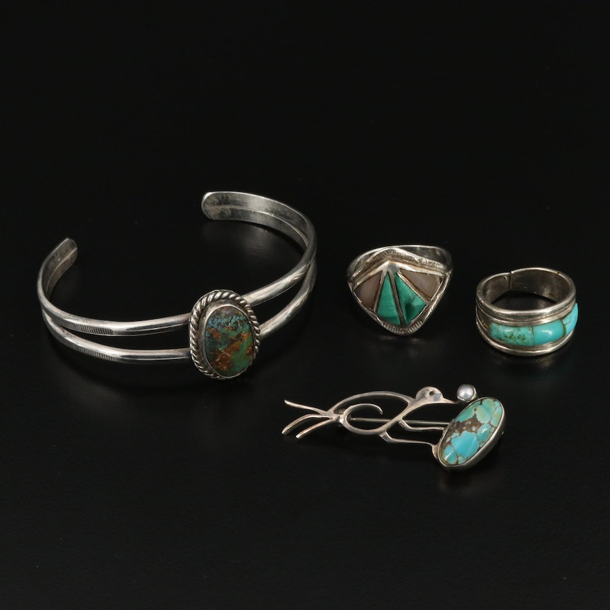 Assorted Sterling Silver Turquoise and Malachite Jewelry