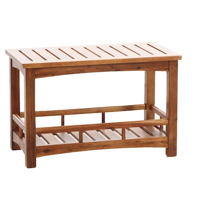 Farmhouse Style Pine Slatted Side Table with Storage, 21st Century