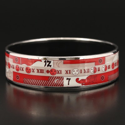 Hermès Enamel Bangle with Roman Numeral and Moon Phase Motif