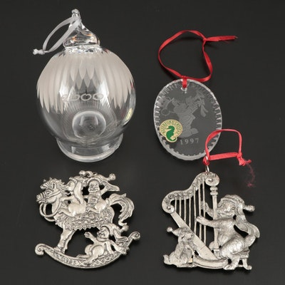 Waterford and Other Crystal Ornaments with Arthur Court Aluminum Ornaments