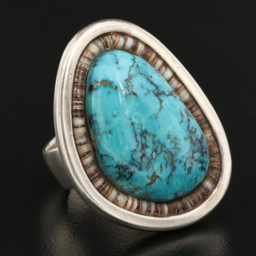 Signed Western Sterling Silver Turquoise and Shell Ring