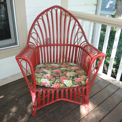 Art Deco Red Painted Bamboo and Cane Garden Chair, Early to Mid-20th Century