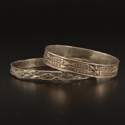 900 Silver Fish Pattern Bangle with Brick Patterned Bangle