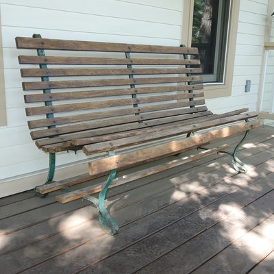 Teak Slat Wood Garden Bench, Early 20th Century