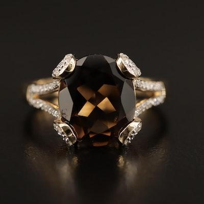 14K Smoky Quartz and Diamond Ring