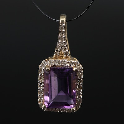Sterling Amethyst Pendant with Diamond Halo