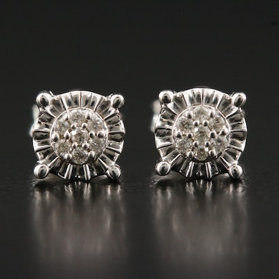 Sterling Diamond Cluster Illusion Set Stud Earrings