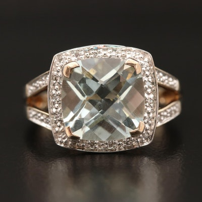 Sterling Silver Prasiolite and Diamond Ring with Split Shank