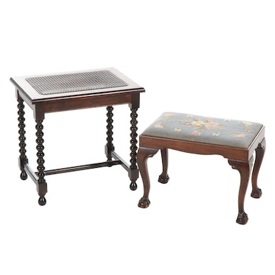 Cane Barley Twist Accent Table and Chippendale Style Needlepoint Footstool