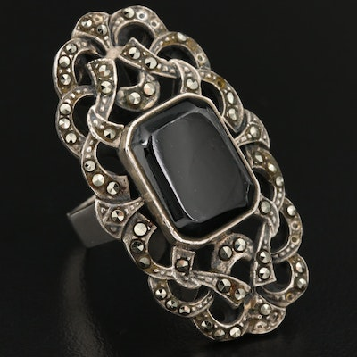 Sterling Silver Black Onyx and Marcasite Pointer Ring