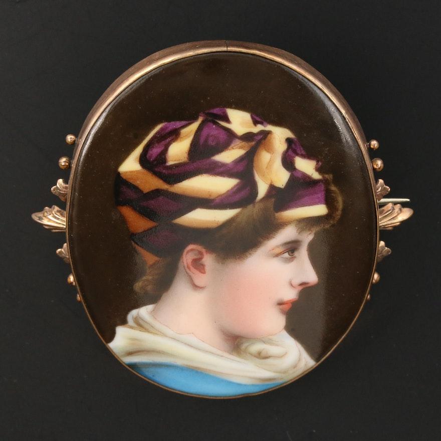 Antique Painted Portrait Brooch