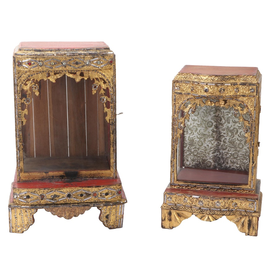 Thai Mandalay Style Gilt and Glass Decorated Tabletop Display Case