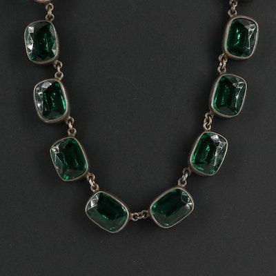 French Art Deco Bezel Set Endless Necklace
