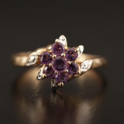 10K Amethyst Cluster Bypass Ring