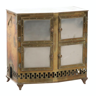 Stone Top Brass Cabinet, Early to Mid 20th Century