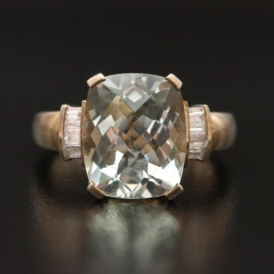Sterling Silver Quartz and Diamond Ring