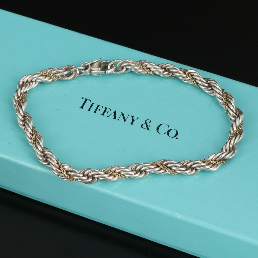 Tiffany & Co. Sterling Silver Rope Chain Bracelet with 18K Accent Chain