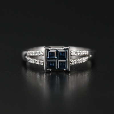 Sterling Sapphire Ring with Diamond Shoulders