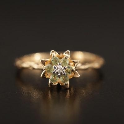 10K Diamond and Peridot Flower Motif Ring