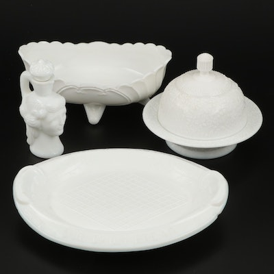 "Challinor, Taylor & Co. ""Daisy Tree of Life"" Milk Glass Covered Butter and More"