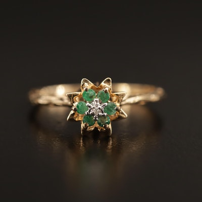 10K Diamond and Emerald Flower Motif Ring