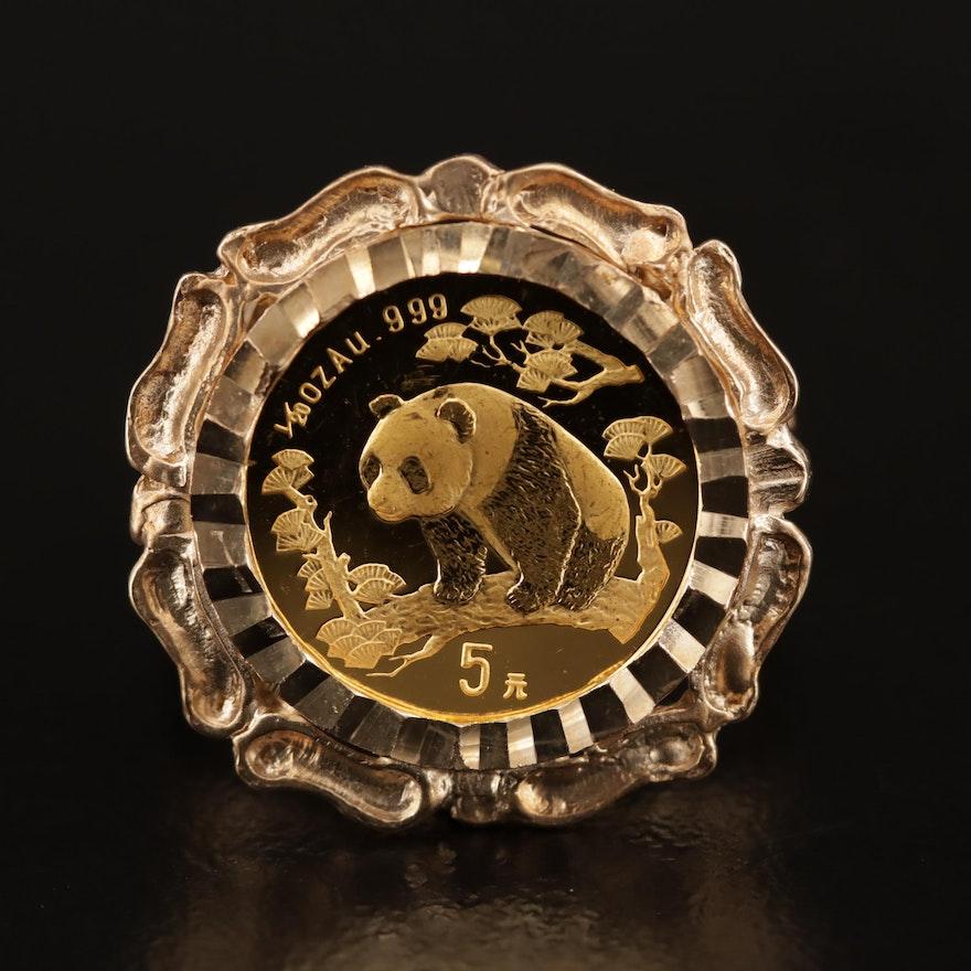 10K Ring with 1997 China 5-Yuan Gold Panda Bullion Coin