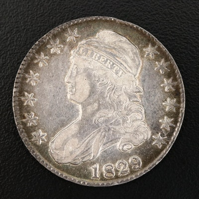 1829 '9 Over 7 Variety' Capped Bust Silver Half Dollar