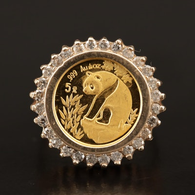 10K Diamond Ring with 1993 China Gold Panda Bullion Coin