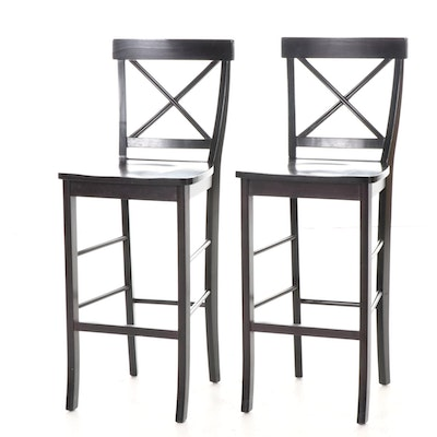 Ebonized Wood  Barstools, Late 20th Century