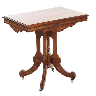 Victorian Eastlake Style Burl Wood and Walnut Side Table, Late 19th Century.