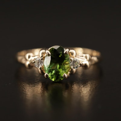 Kabana 14K Tourmaline, Diamond and Cubic Zirconia Ring