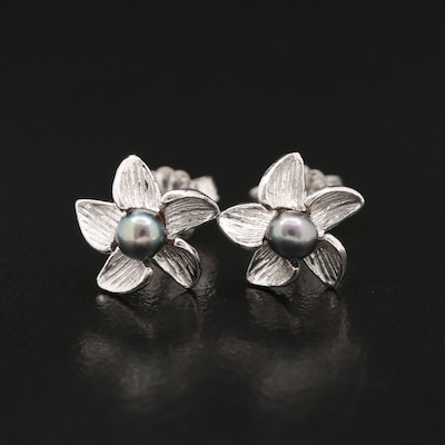 14K Pearl Floral Stud Earrings
