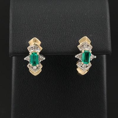 10K Emerald and Diamond J-Hoop Earrings
