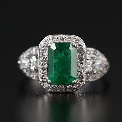 14K 2.02 CT Emerald and 1.04 CTW Diamond Halo Ring