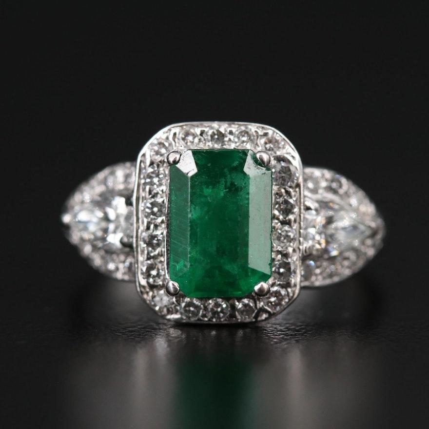 14K 2.02 CT Emerald and 1.04 CTW Diamond Halo Ring