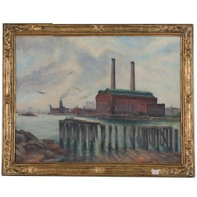 Arthur Frischke Industrial Landscape Oil Painting, 1938