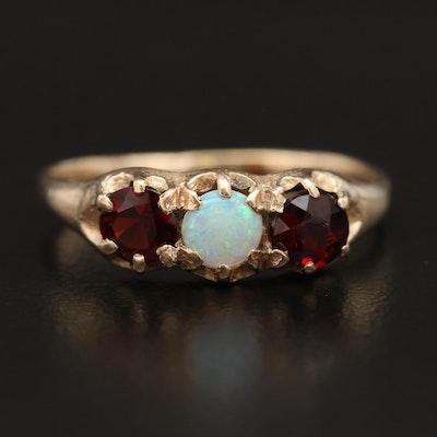 10K Opal and Garnet Ring