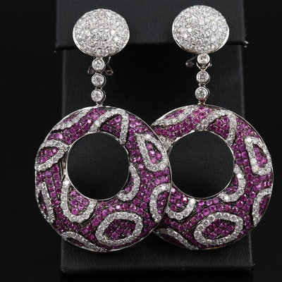 18K 9.14 CTW Diamond and Ruby Dangle Earrings