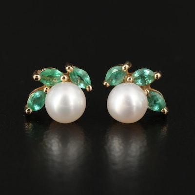 14K Pearl and Emerald Stud Earrings