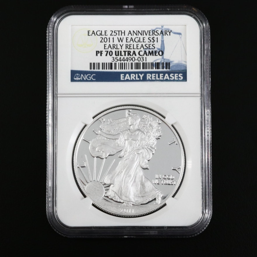 NGC Graded PF70 Ultra Cameo 2011-W American Silver Eagle $1 Proof Bullion Coin